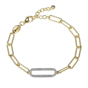 """Sterling Silver Bracelet made with Diamond Cut Paperclip Chain (5mm) and a CZ Link (24x8mm) in Center, Measures 6.75"""" Long, Plus 1.25"""" Extender for Adjustable Length, 2 Tone, 18K Yellow Gold and Rhodium Finish"""