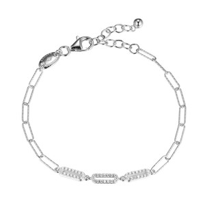 """Sterling Silver Bracelet made with Diamond Cut Paperclip Chain (3mm) and 3 CZ Links in Center, Measures 6.75"""" Long, Plus 1.25"""" Extender for Adjustable Length, Rhodium Finish"""