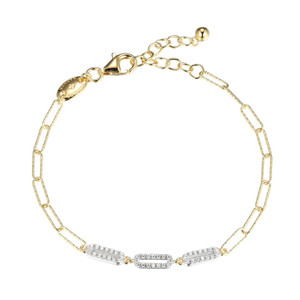 """Sterling Silver Bracelet made with Diamond Cut Paperclip Chain (3mm) and 3 CZ Links in Center, Measures 6.75"""" Long, Plus 1.25"""" Extender for Adjustable Length, 2 Tone, 18K Yellow Gold and Rhodium Finish"""
