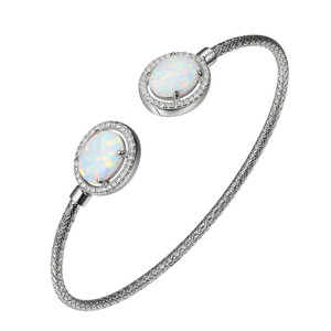 Sterling Silver 2mm Mesh Cuff with Synthetic Opal and Cubic Zirconia