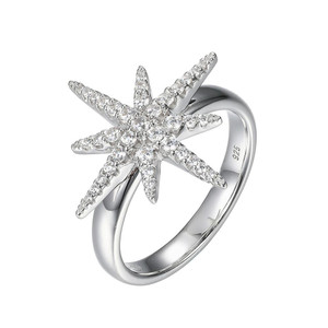 Sterling Silver Ring with Cubic Zirconia Starburst Motif