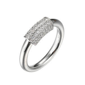 Sterling Silver Ring with Cubic Zirconia Cylinder (12mm)