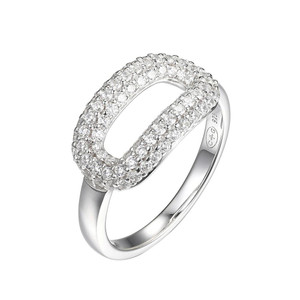 Sterling Silver Ring with Cubic Zirconia Motif