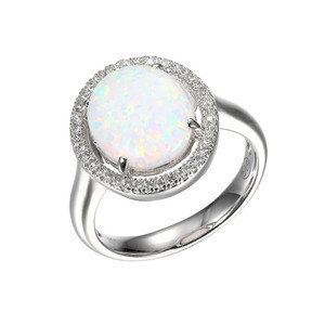Sterling Silver Ring with Synthetic Opal and Cubic Zirconia