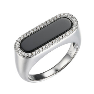 Sterling Silver Ring with Black Onyx (17x5mm) and Cubic Zirconia