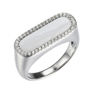 Sterling Silver Ring with White Mother of Pearl (17x5mm) and Cubic Zirconia