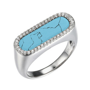 Sterling Silver Ring with Synthetic Turquoise (17x5mm) and Cubic Zirconia