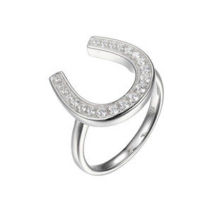Sterling Silver Ring with Cubic Zirconia Horseshoe