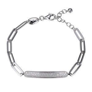 Sterling Silver Bracelet made with Paperclip Chain (5mm) and Pave Cubic Zirconia Motif  SXD3273WZ