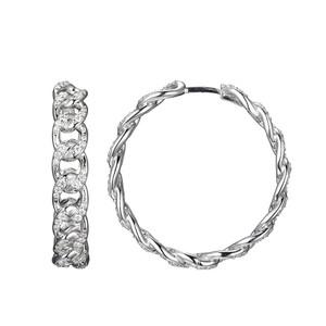 Sterling Silver Hoop Earrings with Cubic Zirconia SXE3376WZ30