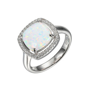 Sterling Silver Ring with Synthetic Opal and Cubic Zirconia SXR3248WOP