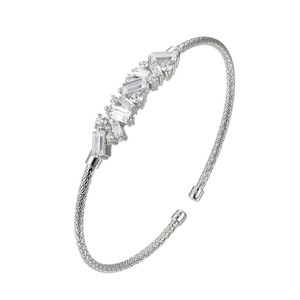Sterling Silver 2mm Mesh Cuff with Cubic Zirconia MLC3243WZ