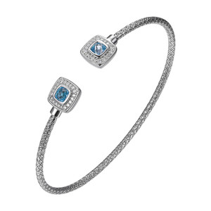 Sterling Silver 2mm Mesh Cuff with Blue Topaz and Cubic Zirconia MLC3174WBT
