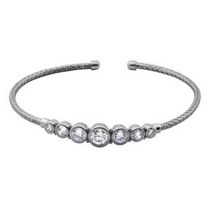 Sterling Silver 2mm Mesh Cuff with Cubic Zirconia MLC3052WZ