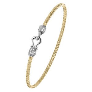 Sterling Silver 2mm Mesh Bangle with Cubic Zirconia MLB8537YWZ