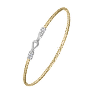 Sterling Silver 2mm Mesh Bangle with Cubic Zirconia MLB8517YWZ