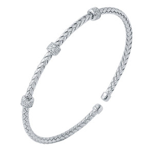 Sterling Silver 3mm Mesh Cuff with Cubic Zirconia MLC8109WZ