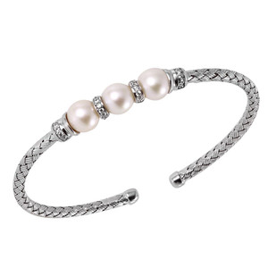 Sterling Silver 3mm Mesh Cuff with Freshwater Pearl and Cubic Zirconia MLC8185WPZ