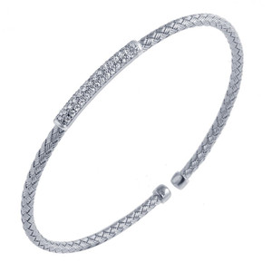 Sterling Silver 3mm Mesh Cuff with Cubic Zirconia MLC8001WZ