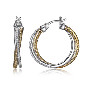 Sterling Silver 2mm Mesh with Cubic Zirconia  Hoop EarringsMLE3123YWZ25