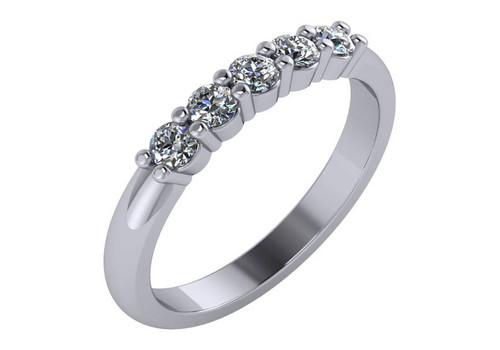 14KT White Gold Round Cut Diamond Five Stone Shared Prong Wedding Band Ring 0.35 ctw