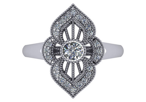 14K White Gold Filigree Antique Styled  Round Cut Diamond Fashion Ring