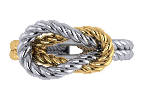 14K White Gold Braided Two Toned Love Knot Fashion Ring