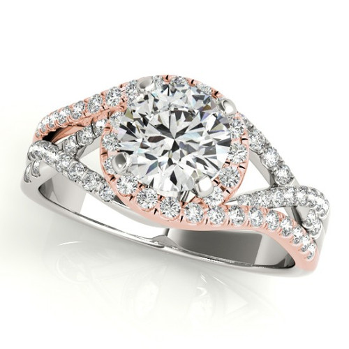 14KT White & Rose  Gold Round Diamond Halo Engagement Ring  50849-E