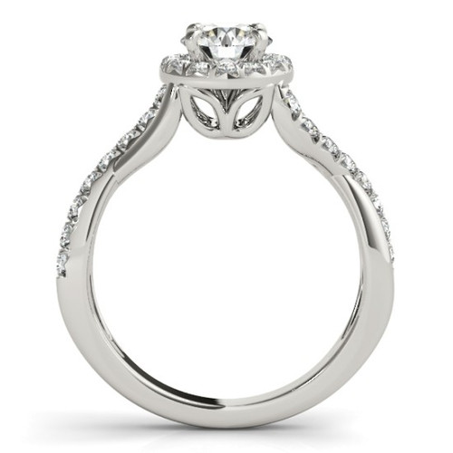 14KT White Gold Round Diamond Halo Engagement Ring 50886-E