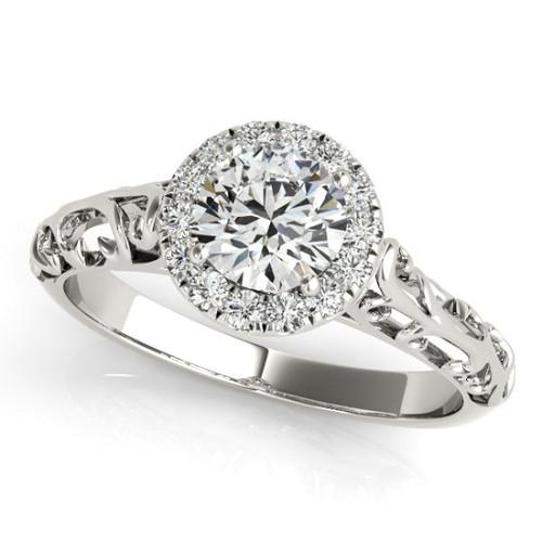 14KT White Gold Round Diamond Halo Engagement Ring 50855-E