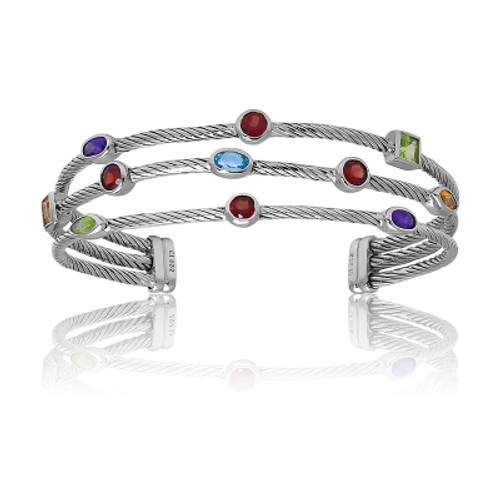 Sterling Silver 3-Strand MC, Multi-Shaped Gem Bangle