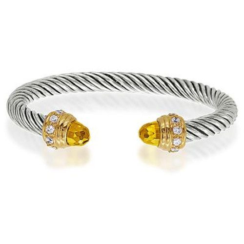 Sterling Silver Cable Cuff Bangle With Gold Plated Clear & Citrine CZ Edges