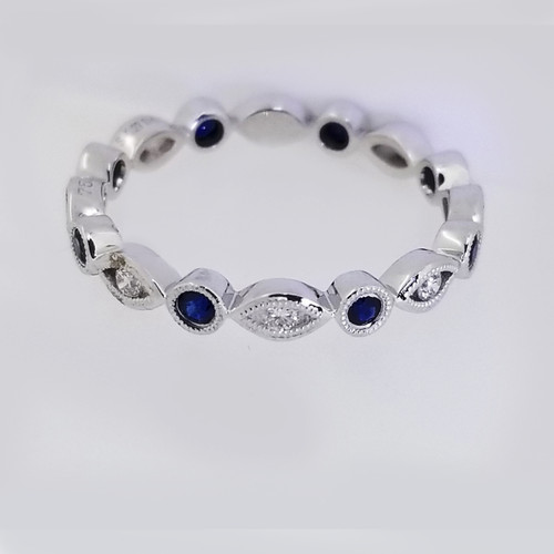 18KT White Gold Round Cut Diamond & Sapphire Stackable Ring  0.20 ctw