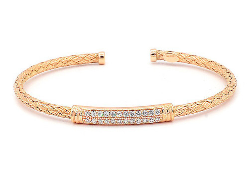 Italian Silver & Cubic Zirconia Braided Cuff Bangle in Rose Gold Plated ITBR388