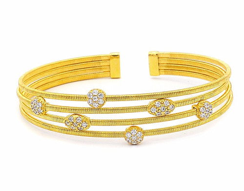 Italian Silver & Cubic Zirconia Wide Cuff Bangle  Gold Plated BRJOE4