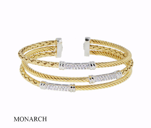 Italian Silver & Cubic Zirconia Wide Cuff Bangle  Gold Plated FS346794