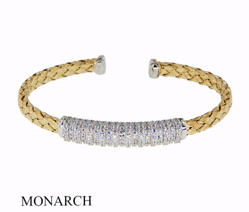 Italian Silver & Cubic Zirconia Wide Cuff Bangle  Gold Plated GA10CZM