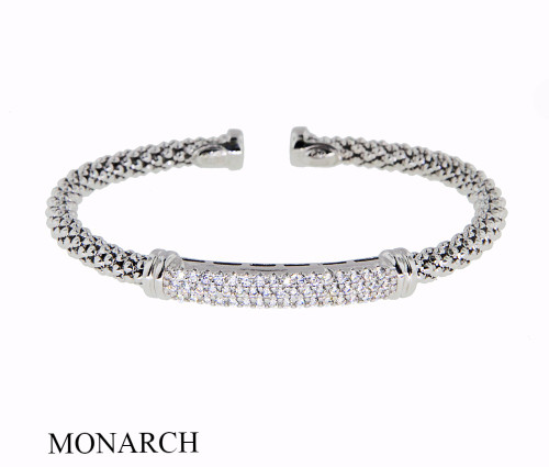 Italian Silver & Cubic Zirconia Wide Cuff Bangle  Gold Plated GA19CZM