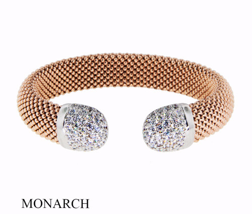 Italian Silver & Cubic Zirconia Wide Cuff Bangle  Gold Plated ITBR548