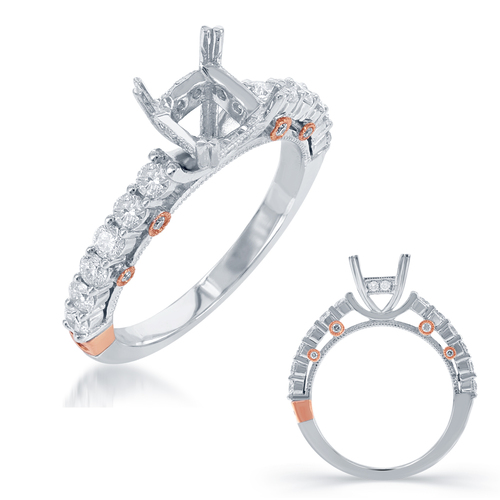 Diamond Engagement Ring  in 14K Rose and White Gold    EN7753-1RW