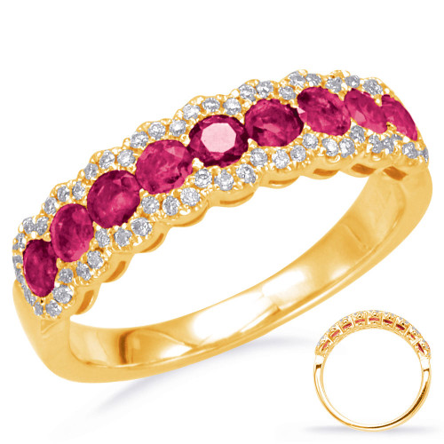 14KT Yellow Gold Ruby & Diamond Stackable Ring  C4244-RYG