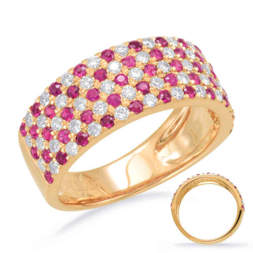 14KT Yellow Gold Ruby & Diamond Stackable Ring  C5790-RYG