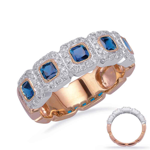 14KT Rose & White Gold Sapphire & Diamond Stackable Ring  C5838-SRW
