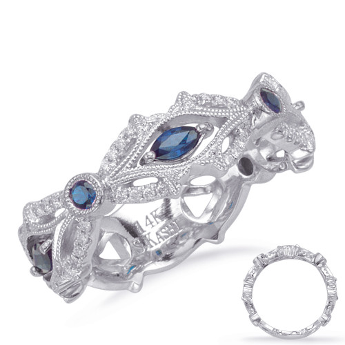14KT White Gold Sapphire & Diamond Stackable Ring  C4711-SWG