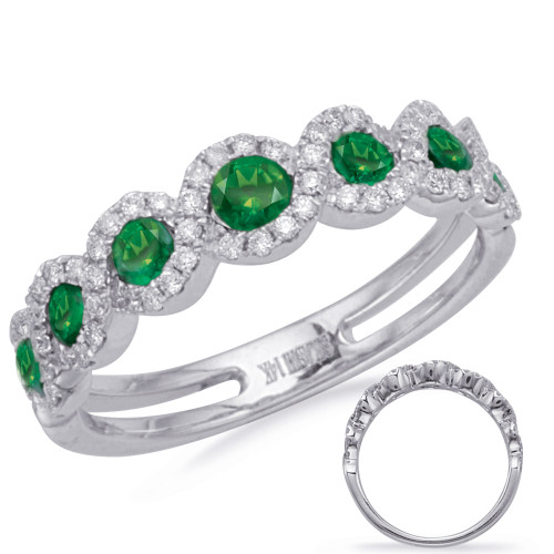 14KT White Gold Emerald & Diamond Stackable Ring  C4264-EWG