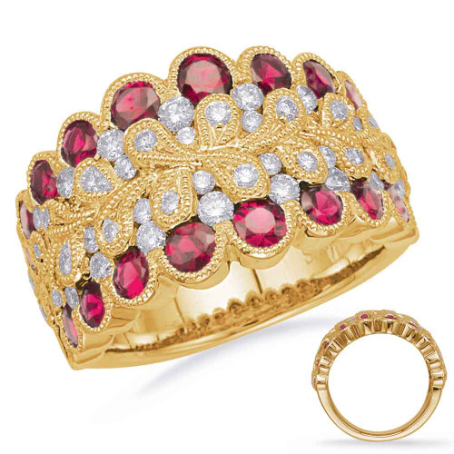 14KT Yellow &  White Gold Ruby & Diamond Stackable Ring  C5837-RYW