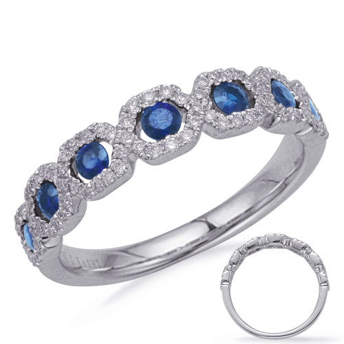 14KT White Gold Sapphire & Diamond Stackable Ring  C5836-SWG