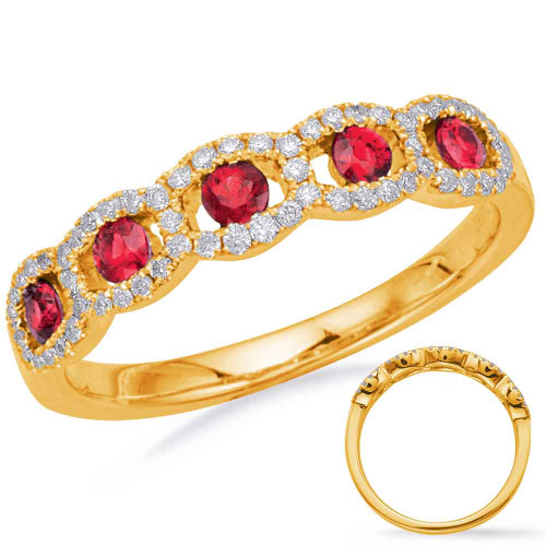 14KT Yellow Gold Ruby & Diamond Stackable Ring  C5835-RYG