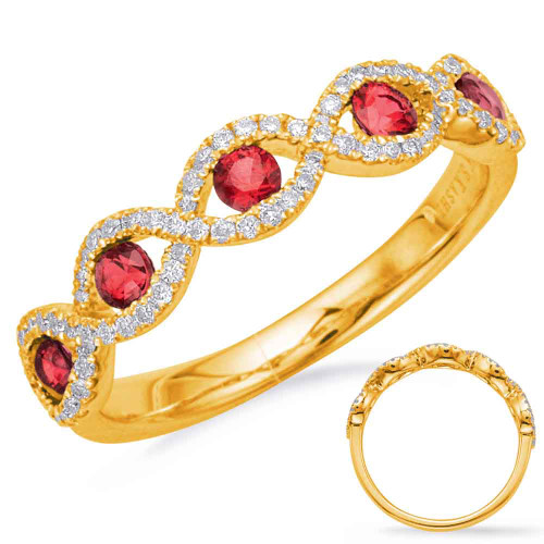 14KT Yellow Gold Ruby & Diamond Stackable Ring  C5834-RYG