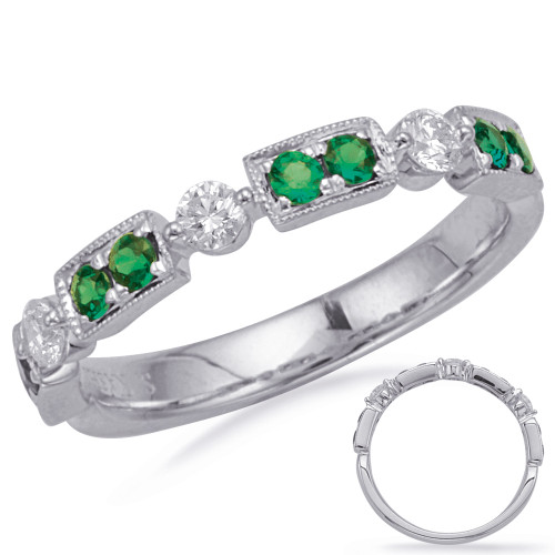 14KT White Gold Emerald & Diamond Stackable Ring  C5833-EWG